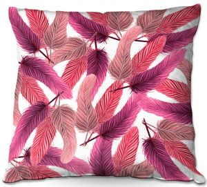 Decorative Outdoor Patio Pillow Cushion   Zara Martina - Pink Feathered   bird feather pattern