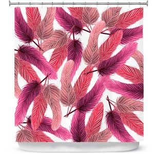 Premium Shower Curtains | Zara Martina - Pink Feathered | bird feather pattern