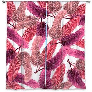Decorative Window Treatments | Zara Martina - Pink Feathered | bird feather pattern