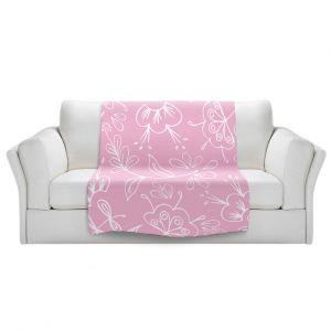 Artistic Sherpa Pile Blankets   Zara Martina - Pink Flora Mix