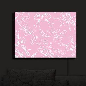 Nightlight Sconce Canvas Light | Zara Martina - Pink Flora Mix | Flowers Patterns