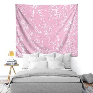 Artistic Wall Tapestry   Zara Martina - Pink Flora Mix