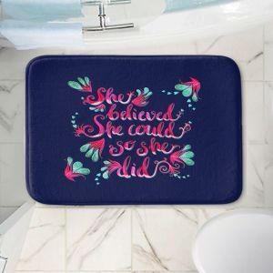 Decorative Bathroom Mats | Zara Martina - She Believed Navy | Inspiring Typography Florals