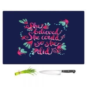 Artistic Kitchen Bar Cutting Boards | Zara Martina - She Believed Navy | Inspiring Typography Florals