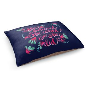 Decorative Dog Pet Beds | Zara Martina - She Believed Navy | Inspiring Typography Florals