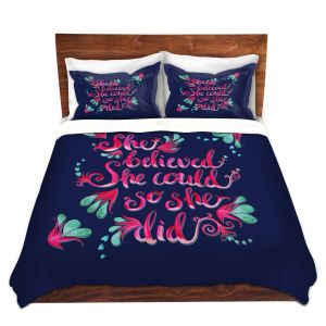 Artistic Duvet Covers and Shams Bedding | Zara Martina - She Believed Navy | Inspiring Typography Florals