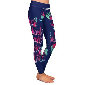 Casual Comfortable Leggings | Zara Martina - She Believed Navy | Inspiring Typography Florals