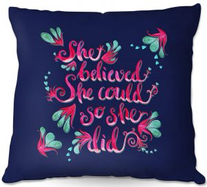 Decorative Outdoor Patio Pillow Cushion | Zara Martina - She Believed Navy | Inspiring Typography Florals
