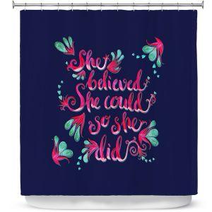 Premium Shower Curtains | Zara Martina - She Believed Navy | Inspiring Typography Florals