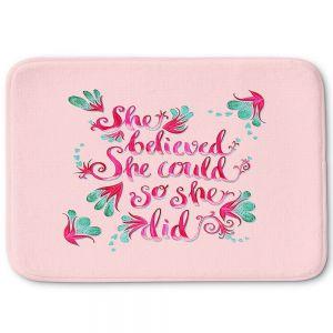 Decorative Bathroom Mats | Zara Martina - She Believed Pink | Inspiring Typography Florals