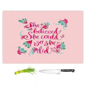 Artistic Kitchen Bar Cutting Boards | Zara Martina - She Believed Pink | Inspiring Typography Florals
