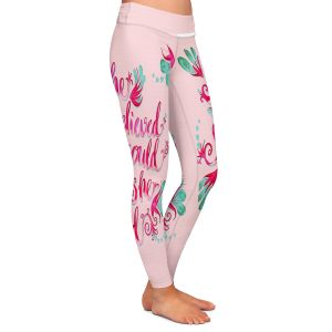 Casual Comfortable Leggings | Zara Martina - She Believed Pink | Inspiring Typography Florals