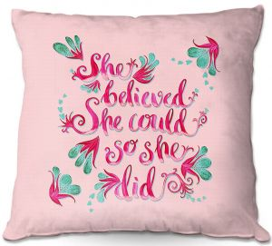 Decorative Outdoor Patio Pillow Cushion | Zara Martina - She Believed Pink | Inspiring Typography Florals