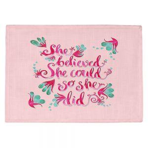 Countertop Place Mats | Zara Martina - She Believed Pink | Inspiring Typography Florals