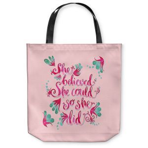 Unique Shoulder Bag Tote Bags | Zara Martina - She Believed Pink | Inspiring Typography Florals