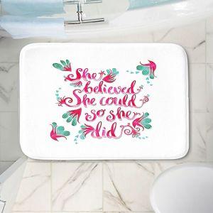 Decorative Bathroom Mats | Zara Martina - She Believed White | Inspiring Typography Florals
