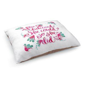 Decorative Dog Pet Beds   Zara Martina - She Believed White   Inspiring Typography Florals