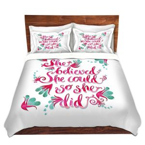 Artistic Duvet Covers and Shams Bedding   Zara Martina - She Believed White   Inspiring Typography Florals