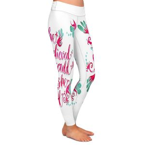 Casual Comfortable Leggings | Zara Martina - She Believed White | Inspiring Typography Florals