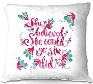 Decorative Outdoor Patio Pillow Cushion | Zara Martina - She Believed White | Inspiring Typography Florals