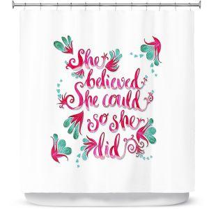 Premium Shower Curtains | Zara Martina - She Believed White | Inspiring Typography Florals