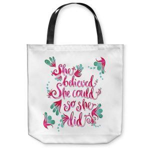 Unique Shoulder Bag Tote Bags | Zara Martina - She Believed White | Inspiring Typography Florals