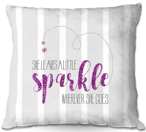 Decorative Outdoor Patio Pillow Cushion | Zara Martina - She Sparkles Stripe Grey Pink