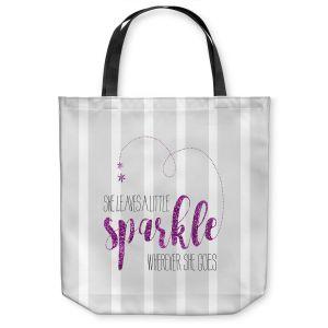 Unique Shoulder Bag Tote Bags |Zara Martina - She Sparkles Stripe Grey Pink