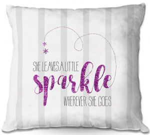 Throw Pillows Decorative Artistic | Zara Martina - She Sparkles Stripe Pink Grey
