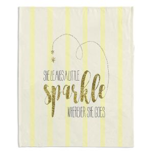 Artistic Sherpa Pile Blankets | Zara Martina - She Sparkles Stripe Yellow Gold