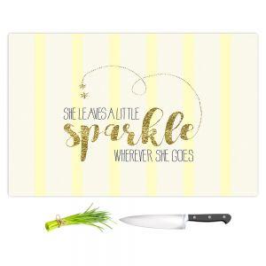 Artistic Kitchen Bar Cutting Boards | Zara Martina - She Sparkles Stripe Yellow Gold