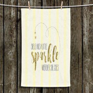 Unique Hanging Tea Towels | Zara Martina - She Sparkles Stripe Yellow Gold | She Sparkles Sayings Femenine Whimsical Stripes