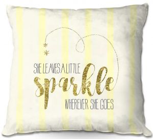 Decorative Outdoor Patio Pillow Cushion | Zara Martina - She Sparkles Stripe Yellow Gold