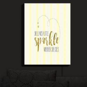 Nightlight Sconce Canvas Light | Zara Martina - She Sparkles Stripe Yellow Gold | She Sparkles Sayings Femenine Whimsical Stripes