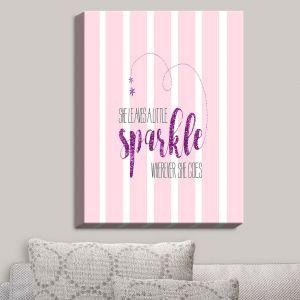 Decorative Canvas Wall Art | Zara Martina - She Sparkles Stripe I Pinks | She Sparkles Sayings Femenine Whimsical Stripes