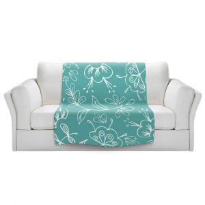 Artistic Sherpa Pile Blankets   Zara Martina - Teal Flora Mix