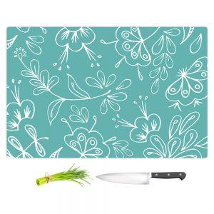 Artistic Kitchen Bar Cutting Boards | Zara Martina - Teal Flora Mix