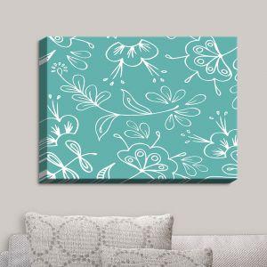 Decorative Canvas Wall Art | Zara Martina - Teal Flora Mix