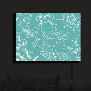 Nightlight Sconce Canvas Light | Zara Martina - Teal Flora Mix | Flowers Patterns