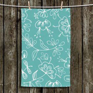 Unique Hanging Tea Towels | Zara Martina - Teal Flora Mix | Flowers Patterns