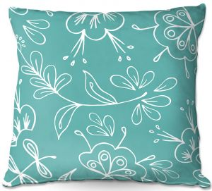 Decorative Outdoor Patio Pillow Cushion | Zara Martina - Teal Flora Mix