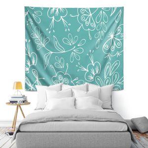 Artistic Wall Tapestry | Zara Martina - Teal Flora Mix