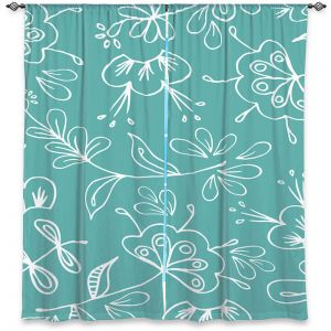 Decorative Window Treatments | Zara Martina - Teal Flora Mix