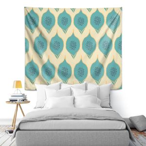 Artistic Wall Tapestry   Zara Martina - Teal Petals
