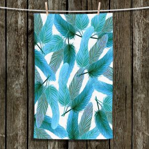 Unique Hanging Tea Towels | Zara Martina - Turquoise Feathered | bird feather pattern