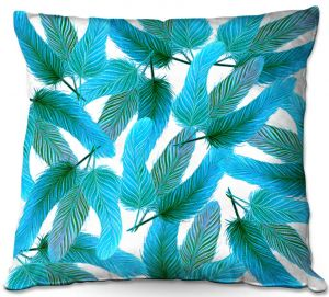 Decorative Outdoor Patio Pillow Cushion   Zara Martina - Turquoise Feathered   bird feather pattern