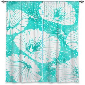 Decorative Window Treatments | Zara Martina - Turquoise White Flowers | floral pattern
