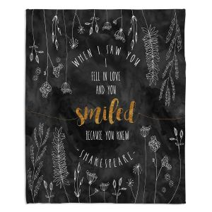 Decorative Fleece Throw Blankets | Zara Martina - When I Saw You Black Gold | Wedding Love