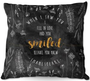 Decorative Outdoor Patio Pillow Cushion | Zara Martina - When I Saw You Black Gold | Wedding Love