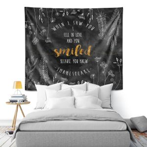 Artistic Wall Tapestry | Zara Martina - When I Saw You Black Gold | Wedding Love